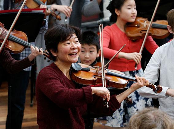 ACO Violinist AIko Goto leading our annual ACO Academy program