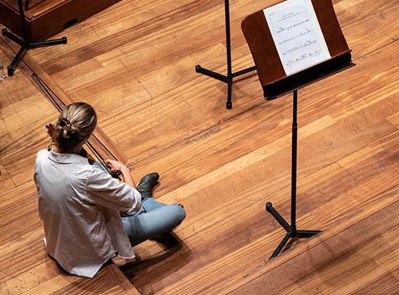 A photo from above of violist Nicole Divall regearsing