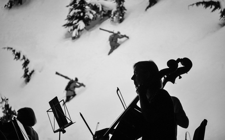Cellist Melissa Barnard on stage during 'Mountain' performance