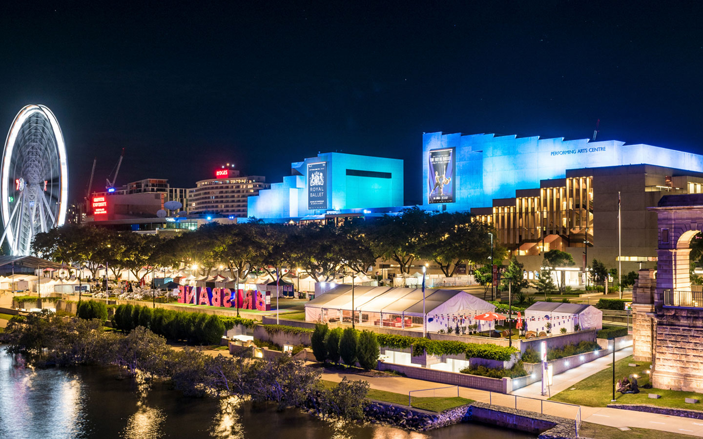 A photo of QPAC in the evening